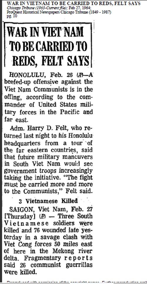 Chicago Tribune 1964 Article on Vietnam
