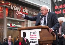 "As Sanders Joins 40,000 Workers Striking Against 'Greedy' Verizon, He says of CEOs ""I welcome their Contempt"""