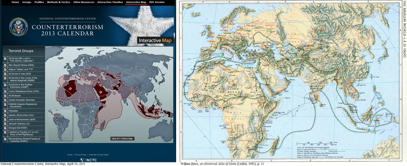 "Screenshot of the National Counter Terrorism Center Interactive Map , April 30, 2013 (left), and ""The Muslim World circa A.D. 1500,"" from William Brice, An Historical Atlas of Islam (Leiden, 1981), p. 11."