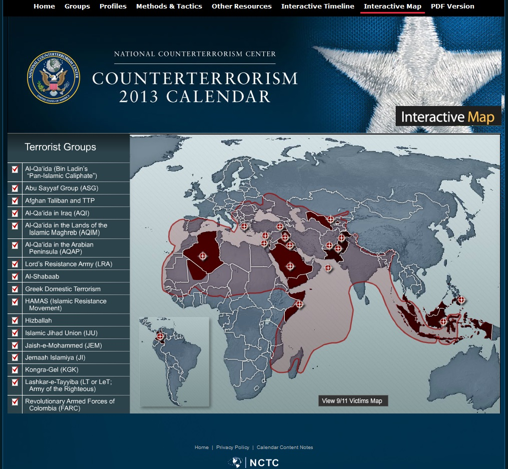 Dear us government 1 the muslim world isnt a terror zone and 2 screenshot of the national counterterrorism centers interactive map april 30 2013 gumiabroncs Gallery