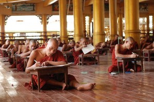 Monks take an examination in Bago, Myanmar. (February 26, 2008), Wikimedia Commons