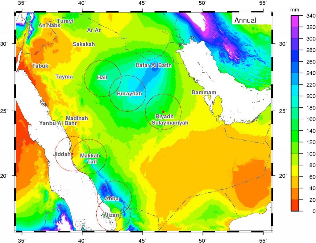 distribution of rainfall in Saudi Arabia