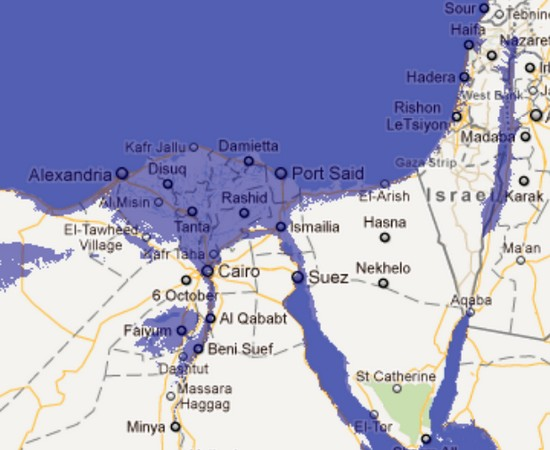 Egypt at a 30 meter sea level rise