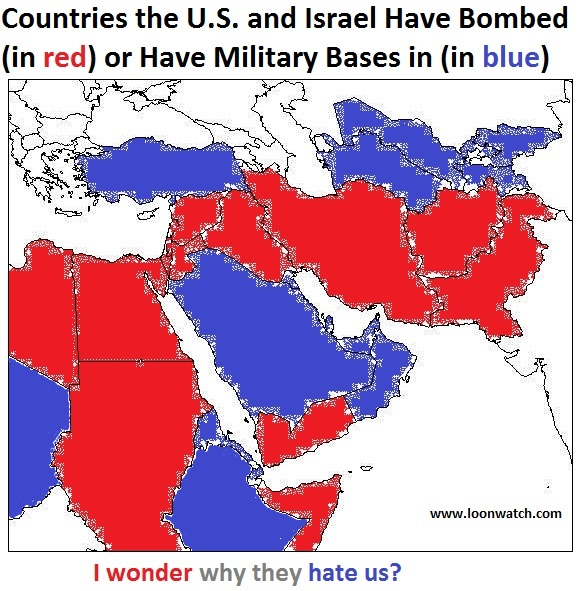 map of countries US/Israel have bombed or in which US has bases
