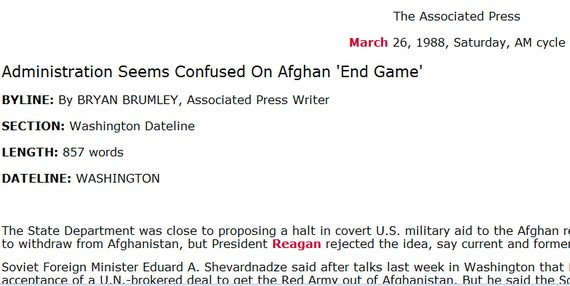 Administration Seems Confused On Afghan 'End Game' – AP  (…. in 1988! – Screenshot)