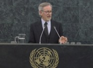 "Director Steven Spielberg speaks at UN Holocaust Remembrance Day: ""There are no Bystanders to History"""