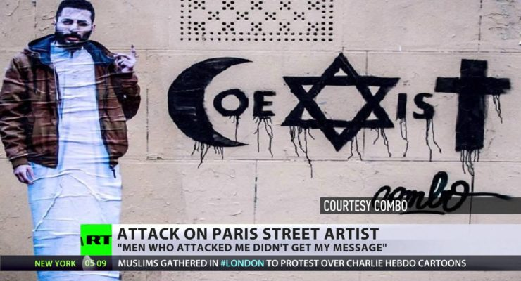 Beaten over call for co-existence: French artist's religious graffiti