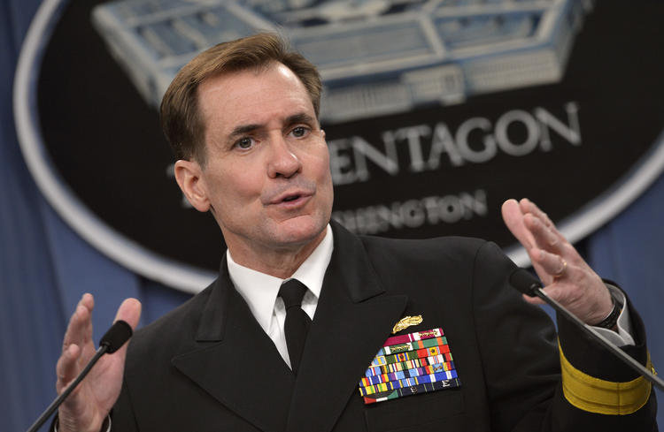 """Pentagon Channel as Pentagon Press Secretary Navy Rear Adm. John Kirby briefs reporters in the Pentagon Press Briefing Room March 27, 2014.  DoD Photo by Glenn Fawcett (Released)[/caption] <i/>h/t DoD, Wikipedia</p> <p>Spokesman for the US State Department John Kirby said during a press briefing that the US was """"deeply concerned"""" about Yaalon's move, which """"effectively creates a new settlement on 10 acres"""" of occupied West Bank land.</p> <p>""""Along with the regular retroactive legalization of unauthorized outposts and construction of infrastructure in remote settlements, actions such as this decision clearly undermine the possibility of a two-state solution,"""" Kirby said.</p> <p>Kirby reiterated that the US views settlement activity as """"illegitimate and counterproductive to the cause of peace.&#8221;</p> <p>""""Continued settlement activity and expansion raises honest questions about Israel's long-term intentions and will only make achieving a two-state solution that much more difficult,"""" Kirby continued.</p> <p>The church compound, known as Beit al-Baraka, is situated on 38-dunams (9.3 acres) of Palestinian land in the Hebron district.</p> <p>The compound's incorporation into Gush Etzion enables the construction of a continuous line of settlements from the Gush Etzion settlement bloc south of Jerusalem to a cluster of settlements around Hebron.</p> <p>An investigative report by Israeli daily Haaretz in May alleged that American millionaire Irving Moskowitz purchased Beit al-Baraka through a Swedish company years prior with the intention of turning it into a settlement outpost.</p> <p>A pastor who headed the church that previously owned the compound thought it had been sold to a Swedish company, Scandinavian Seamen Holy Land Enterprises, that would revive its use as a church.</p> <p>It was later revealed that the company had been established in 2007 and used to cover up the sale and transfer of Beit al-Baraka.</p> <p>The Swedish company registered the purchase with the I"""