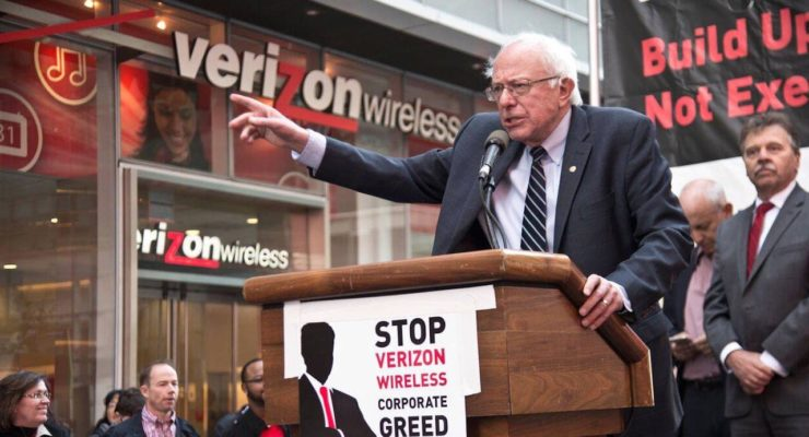 """Sanders joins Striking Verizon Workers: says to CEOs, """"I welcome their Contempt"""""""
