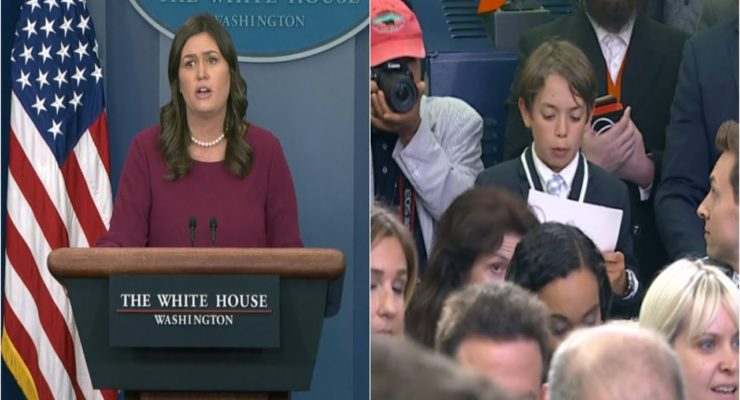"Schoolboy's Angst over School Shootings chokes up Sarah Sanders, who offers a ""Commission"" (Video)"