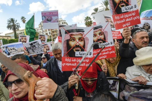 "Tunisia Demos: ""The people want Bin Salman to be judged"", ""No to the killer of Yemeni children"""