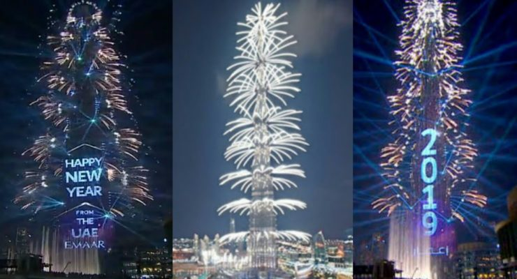 Dubai New Year 2019 Fireworks & Laser Show at Burj Khalifa