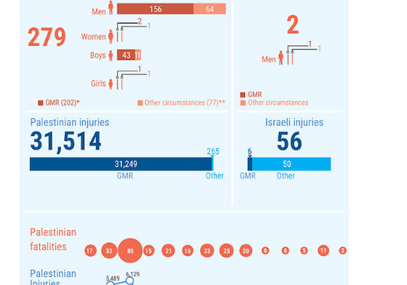 Gaza Palestinians and Israelis Wounded Past Year by the Numbers: 31,691 v. 250